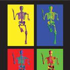 MEDart™ Poster Skeleton, 4 motives, background black, 1002401 [MAPA10Suu], Posterler ve Baskilar